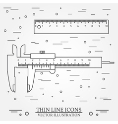 Set thin line icons calipers and ruler for vector