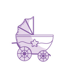 silhouette baby strolle that used to vector image