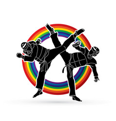 Taekwondo fighting designed on line rainbow vector