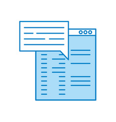 Template computer with speech bubble vector
