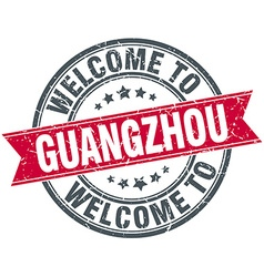 Welcome to guangzhou red round vintage stamp vector