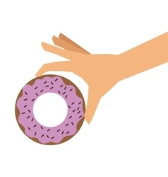 Donut glazed with sprinkles and hand icon vector