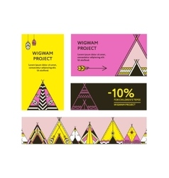 Business cards and promotional flyers with wigwams vector