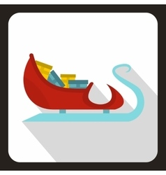 Santa claus sleigh with gifts icon flat style vector