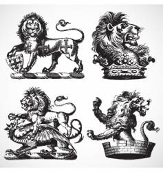 Gothic lion ornaments vector