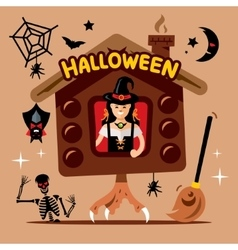 Halloween witch hut cartoon vector