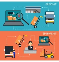 Logistics and freight shipment flowchart set vector