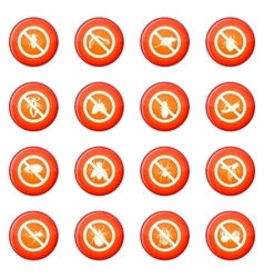 No insect sign icons set vector image