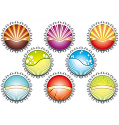 A of metal bottle tops in various colours w vector