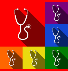 Stethoscope sign   set of vector