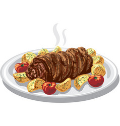 Baked meat roulade vector