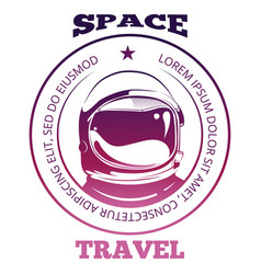 colorful space travel label design with astronaut vector image