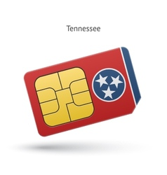 State of tennessee phone sim card with flag vector