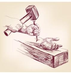 hand of Jesus Christ on the cross llustration vector image