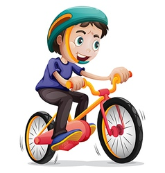 A young boy riding a bicycle vector