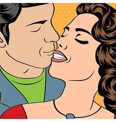 Pop art kissing couple vector