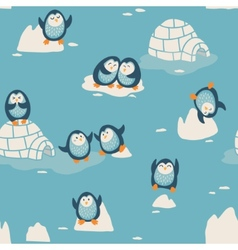 Seamless pattern with little cute penguins vector