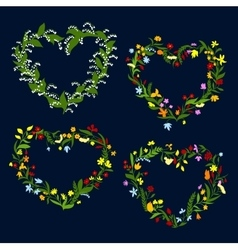 Heart shaped spring or summer wreaths vector