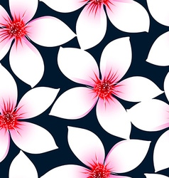 White tropical hibiscus flowers in a seamless vector