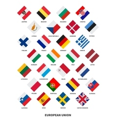 Member state of the european union flags rhombus vector