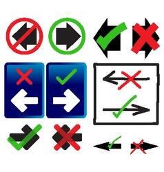 Right and wrong way icons vector