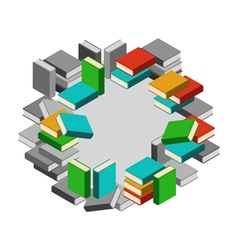 Set of stacks of books in color and gray scale in vector