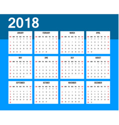 american calendar 2018 week starts on sunday vector image