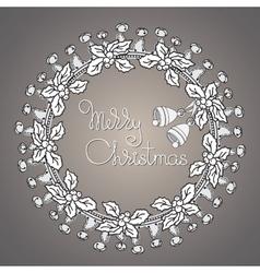 Bells and wreath handwritten words merry vector