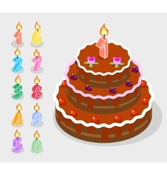 Birthday candles fire numbers 3d isometric vector image vector image