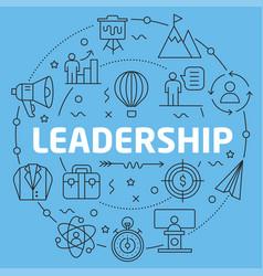 blue line flat circle leadership vector image vector image