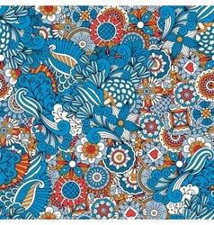 Blue red and orange vintage floral pattern vector image vector image