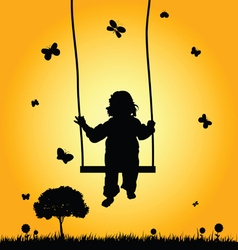 Child on swing silhouette vector
