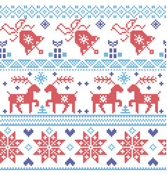 Dark and light blue and red Scandinavian pattern vector image vector image