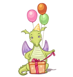 dragon with birthday gifts and balloons vector image vector image