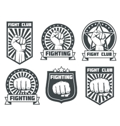 Fight club with fist vintage labels logos vector image vector image