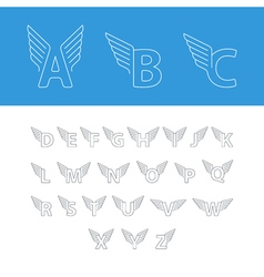 Font letters thin lines logo with wings vector
