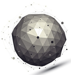 Geometric contrast spherical figure with wire mesh vector image