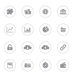 Gray simple flat icon set 4 with circle frame vector