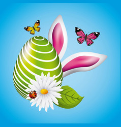 Green big egg easter ears bunny butterfly and vector