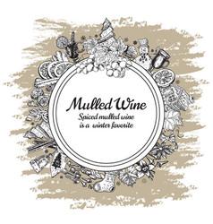 Hand drawn mulled wine round banner black vector