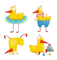 Kids duck funny toy set vector