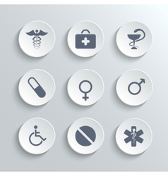 Medical icons set - white round buttons vector image