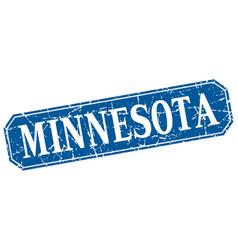 Minnesota blue square grunge retro style sign vector