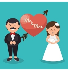 Mr and mrs couple heart wedding design graphic vector