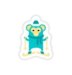 Paper sticker on white background monkey skiing vector
