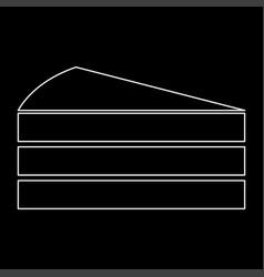 Piece of cake white color path icon vector