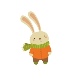Rabbit In Orange Warm Coat Childish vector image