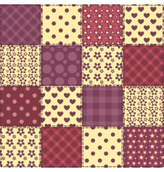 Seamless patchwork claret color pattern 2 vector