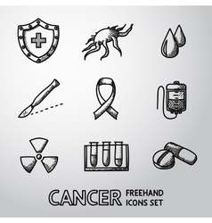 Set of freehand cancer icons with - shield cell vector