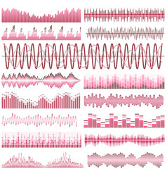 set of red sound waves vector image vector image